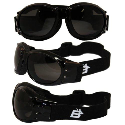 Birdz Eyewear Eagle schwarz Rahmen Motorrad Brillen mit Rauch bruchsicher anti-fog Polycarbonat Objektive und belüftet Open Cell Schaum -