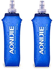 AONIJIE TPU Soft Folding Water Bottles BPA Free Collapsible Flask for Hydration Pack for Running Hiking Cyclin