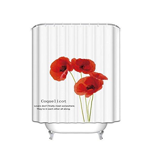 Decor, Vintage rot Poppy Flower Trompete Blume Polyester Stoff Duschvorhang mit Haken, Textil, multi, 48x72 ()