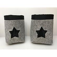 Feltro Uebertopf pentola Cappotto 2Set grigio nero con stella Star Gilde con inserto in plastica, 20e 22cm