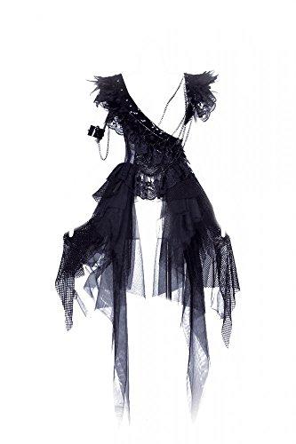 Steampunk KLEID mit Federn SCHWARZ Gothic RQ-BL Vintage Lack 21079, (Wie Swan Black Kostüme)
