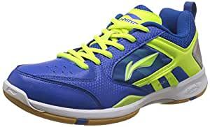 Li Ning Star Icon Badminton Shoes, UK 2 (Blue/Lime)