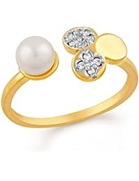 Mahi Gold Plated Gorgeous Adjustable Finger Ring With CZ And Artificial Pearl For Girls And Women FR1103001G