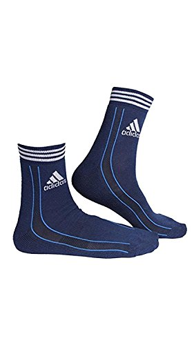Adidas Men's AD-416 Half Cushion Quarter Socks, Grey/White/Blue (Pack of 3)