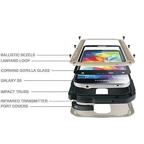 LOVE MEI für Samsung Galaxy S5 SM-G900F Outdoor Case Gorilla Glas Wasserfest Metall schwarz (Gorilla-glas-aluminium-metallgehäuse)