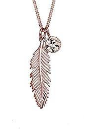 Elli Halskette Feder Solitär mit Swarovski® Kristall 925 Sterling Silber 45cm