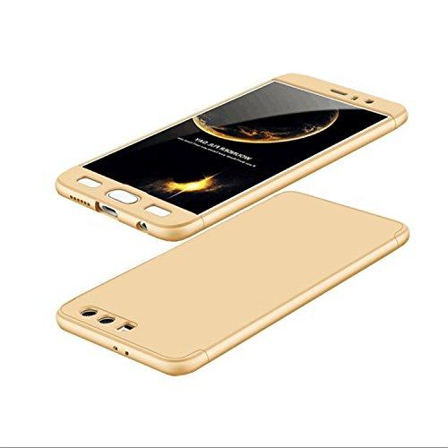 Huawei Honor 9 Hülle Hardcase 3 in 1 Handyhülle Ultra Dünn Hartschale 360 Grad Full Body Schutz Handytasche Backcover Schutzhülle Anti-Kratzer Elegant Stoßfest Hart PC Skin Rückdeckel Glatte Bumper - Gold (Gehäuse Libelle-pen)