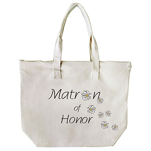 ElegantPark Bridesmaid Donne Shopper Naturale Tela 100% Cotone Tote Tote donne della spalla Mid borsa Sposa Matron of Honor
