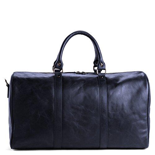 OFFERMANN Ledertasche Reisetasche Duffle Bag als Umhängetasche für Herren und Damen inklusive 17 Zoll Laptopfach als klassischer Wochenendbegleiter 33 Liter braun Midnight Blue