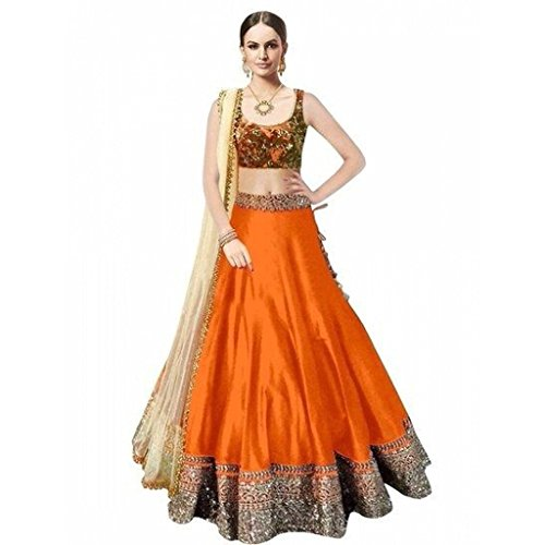 Varona Enterprise Women's Embroidary Lehenga Choli (Color: Orange Free Size)