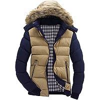 HCFKJ Ropa Hombre Invierno Casual Manga Largas Classic Caliente Capucha Invierno Cremallera Abrigo Chaqueta Outwear Blusa Superior