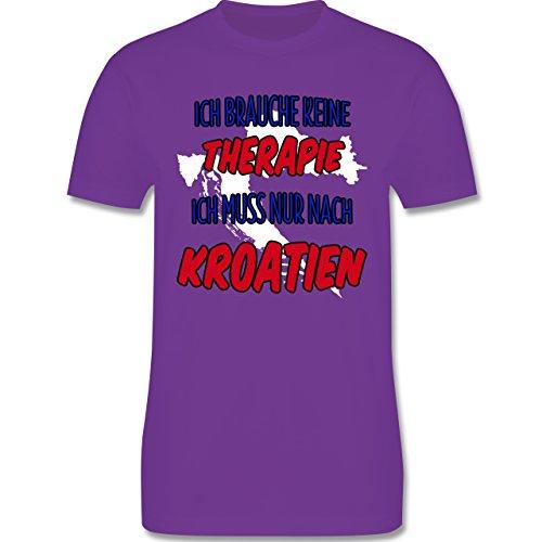 Länder - Ich brauche keine Therapie ich muss nur nach Kroatien - Herren Premium T-Shirt Lila