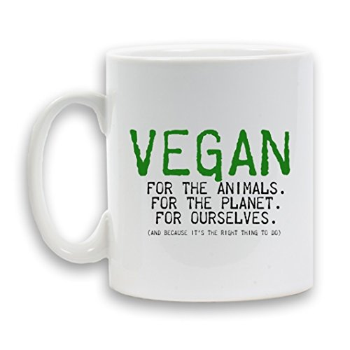 VEGAN for the ANIMALS. For the PLANET. for OURSELVES Designed MUG Ceramic 11oz Heavy Novelty Gift White Coffee Tea Beverage Container by KABOOM GIFTS
