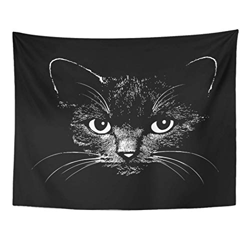 AOCCK Wandteppiche Tapestry Wall Hanging Face Cat Head Graphic Design Animal for Sketch Tattoo Halloween Drawing Silhouette 60