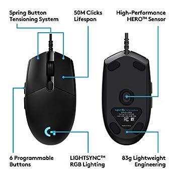 Logitech G PRO Mouse Gaming, Sensore HERO 16K, 16000 DPI, RGB, Leggero, Progettato per eSport, 6 Pulsanti Programmabili, Memoria Integrata, Compatibile PC/Mac/Laptop, Nero