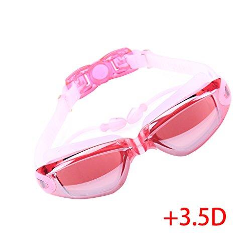 Providethebest Damen Herren Plating Schwimmbrille Anti-Fog-UV-Schutz Wasserdicht Schwimm Plain Myopie Gläser mit Earplug Plattierung rosa -3.5