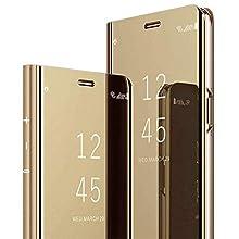 Miroir Coque pour Samsung Galaxy Note 8 Coque Flip Case, Clear View Case Placage Miroir Effet Coque à Rabat Magnétique PU Cuir Anti Choc Housse Etui Protection pour Samsung Galaxy Note 8,OR