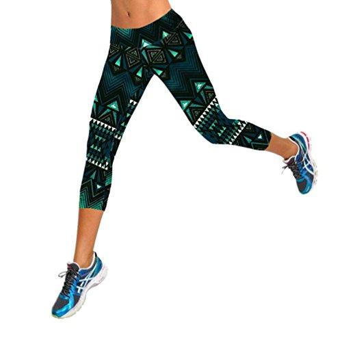 Amlaiworld Hohe Taille Fitness Yoga-Sport-Hosen gedruckt Stretch Geerntete Gamaschen (Dunkelgrün, S)