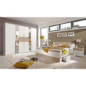lifestyle4living Schlafzimmer Komplett Set in Eiche Sonoma Dekor und Weiß, 4-teilig | Modernes Komplettset mit Drehtürenschrank, Bett 180×200 LED und 2 Nachtschränken