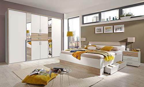 lifestyle4living Schlafzimmer Komplett Set in weiß und Eiche Dekor, 4-teilig | Modernes Komplettset mit Drehtürenschrank, Bett und Nachtschränken