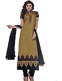 Balaji Women's Georgette Dress Material (EliszGold026_Free Size_golden)
