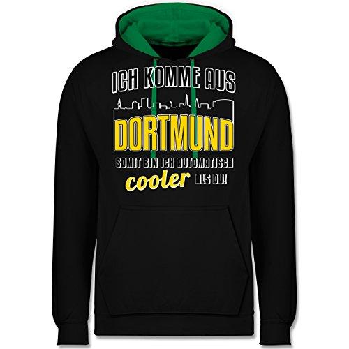Städte - Ich komme aus Dortmund - Kontrast Hoodie Schwarz/Grün