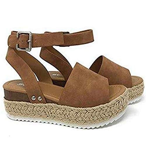 Large Size Leopard Sandals Female European and American Thick Bottom Hemp Braided Belt Ladies Sandals Khaki 40
