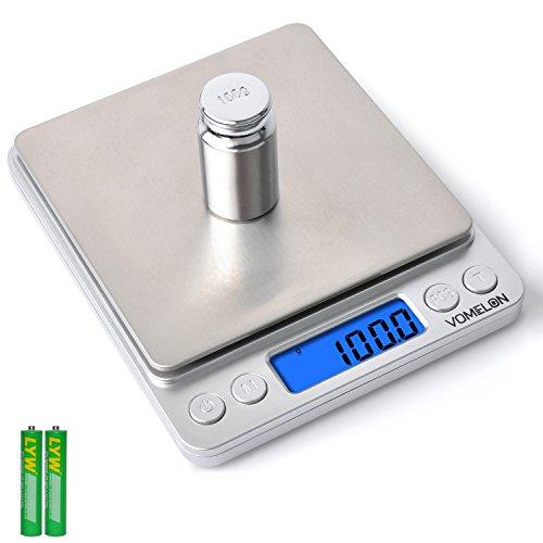 Digitale Küchenwaage, 3kg x 0.1g Digitale Waage, Küchenwaagen mit 100g Gewicht, Tara-Funktion, Stückzählung Funktion, 6 Einheiten Konvertierung, LCD-Display, Auto-Off