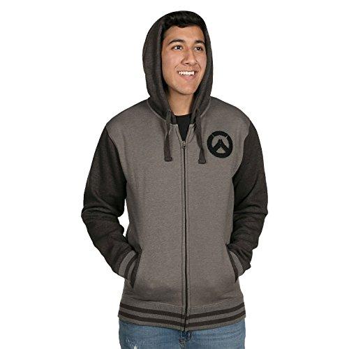 Overwatch Kapuzen Jacke Logo Founding Member Varsity schwarz grau - L Varsity Jacke Patches