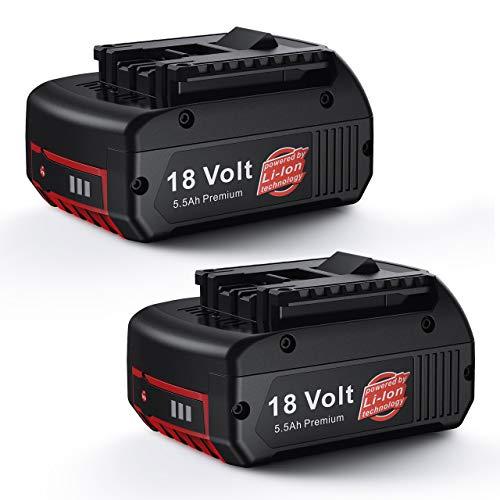 Powerextra 2 Stück Ersatzakkku(verbesserte Version) 18V 5500mAh Li-ion Akku für Bosch BAT609 BAT610G BAT618 BAT619
