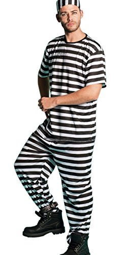 Häftling Kostüm Shirt - Cooles gestreiftes Häftlings Kostüm 3-tlg. Mütze Oberteil Hose Prison-Sträfling Karneval Verkleidung Kostüm Fasching Break Herren Damen Gefangener Verbrecher