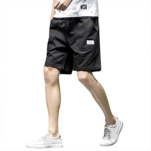 rren Shorts Casual Arbeitshose Sporthose Freizeitshorts Tasche PPangUDing Einfarbig Outdoor Kordel Chino Bermuda Cargo Hawaii Strand Stretch Schnel (4XL, Schwarz) ()