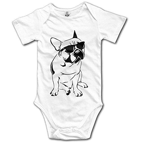 qidushop Baby Love Love Baby Body mit Sonnenbrille, französische Bulldogge Gr. 50, weiß