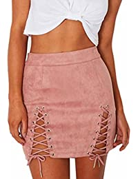 URSING Femmes Bandage en Daim Jupe Sexy Tenue de Cocktail Short Skirt  Ladies Ceinture Elastique Moulante 7f338f972bf