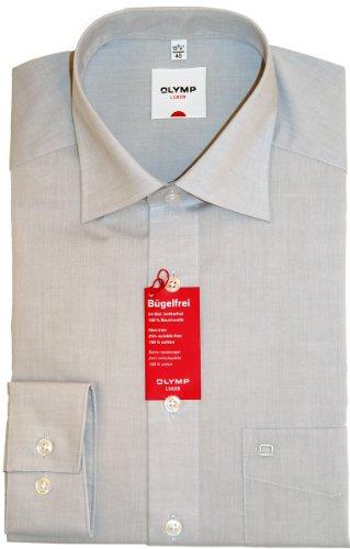 Olymp Herren Hemd Comfort Fit Langarm Silber (12) 43