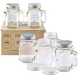 Smith Mason tarros de 6 x, Mason Jar tazas con tapa de rosca con junta de goma, making hermético y filtraciones de agua, también ideal para hacer de la noche la avena