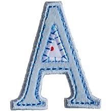 f54eec201eb39 A 9cm ABC hell blau Namen Buchstaben Aufbügler persönlich Dekoration zum  Aufbügeln auf Turnsack Fahne Wimpel
