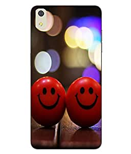 Make My Print Smiley Balls Printed Red Soft Back Cover For LYF WATER 8