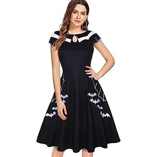 GLXQIJ Frauen Party Kleid Fledermaus Bestickt Plus Size Halloween-Kostüme,Black,L -