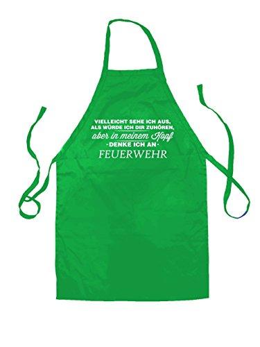 Feuerwehr-erwachsenen T-shirt (Vielleicht sehe ich aus als würde ich dir zuhören aber in meinem Kopf denke ich an Feuerwehr - Unisex Schürzen Passend Für Erwachsene - Leuchtend Grün - Eine Größe)