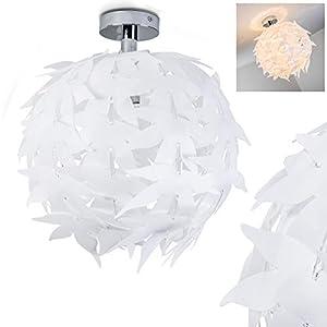 Extravagante Deckenleuchte in Weiß – Designer Leuchte Dokkas aus Metall – Wohnzimmer Deckenlampe sehr auffällig – geeignet für LED – Schlafzimmer Leuchte – runde Zimmerlampe LED fähig