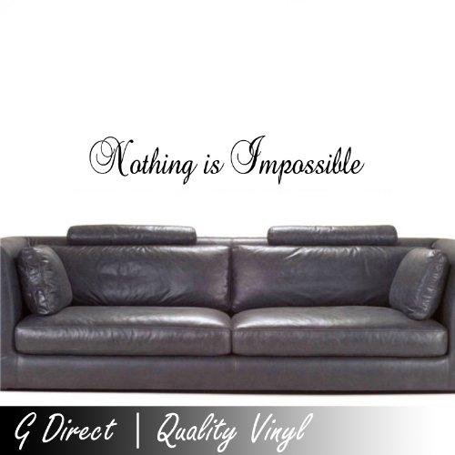 Nothing is Impossible Inspirational decalcomania della parete del vinile Quote Bedcamera Home Vinyl Decal 60x10