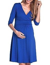 Vestiti Premaman Topgrowth Abito da Gravidanza Elegante Scollo a V Abiti  Casual maternità Incinta Mini Vestito 9199e4586b1