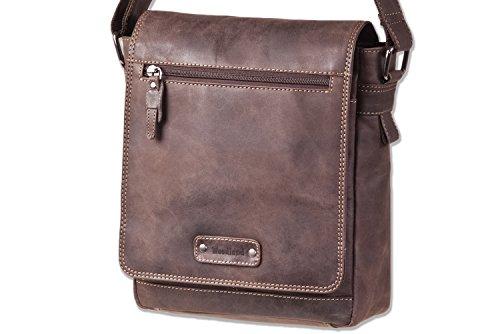 Woodland® - Luxus-Umhängetasche aus naturbelassenem Büffelleder in Dunkelbraun/Taupe (Luxus Messenger Bag)