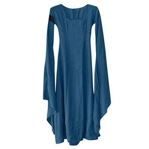 RYTEJFES Damen Mittelalterliche Kleid mit Trompetenärmel Mittelalter Party Kostüm Maxikleid Mittelalterliches Kostüm Women Lange Ärmel (Lady Frankenstein Kostüm)