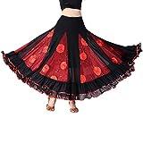 Baoblaze Damen Flamenco Dance Lange Rock Maxirock Tanzrock große Schaukel Faltenrock Latein Walzer Bauchtanz Kostüm - rot, M
