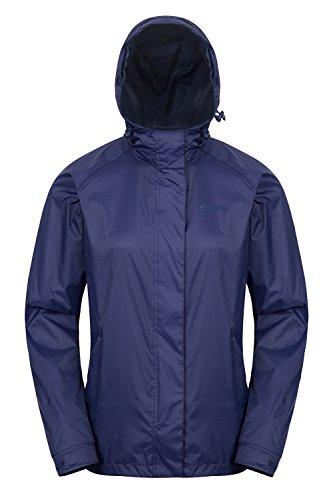 Mountain warehouse giacca da donna torrent - impermeabile, cappotto leggero, cuciture completamente nastrate, giacca da donna con 2 tasche con zip - viaggi, campeggio blu navy 48