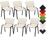 CLP Set 6X Sedie Ufficio Visitatore Ken Imbottite in Similpelle I Sedie Attesa Impilabili E Imbottite I Sedie Impilabili Portata Max 120 kg Similpelle: Crema