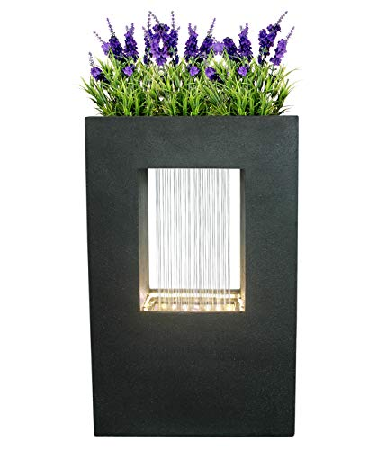 Dehner Gartenbrunnen Grua mit LED Beleuchtung, Steinoptik, ca. 93 x 56 x 20 cm, Polyresin, dunkelgrau