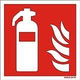 Feuerlöscher Sympol Schild von 50 x 50 bis 300 x 300 mm ASR ISO Brandschutzzeichen als Folie Kunststoff PVC Aluminium Winkel Fahnen nachleuchtend selbstklebend F001 Symbolschild Größe 150 x 150, Farbe Folie Nachleuchtend selbstklebend dünn